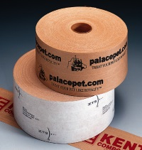 "Custom Printed Tape - 260 Grade White Reinforced Paper Tape 3"" x 450 ft., 10 rolls per case, 1 color"