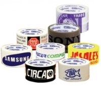 "Custom Printed Acrylic Tapes - 3"" x 1000 yds. Tan 2.0 mil Acrylic Tape, 4 rolls/case, 1 color"