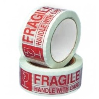 "Fragile Tape - 2"" x 110 yds Red On Clear 2.0 mil Fragile Tape, 36 rolls/case"
