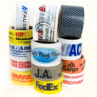 "Custom Printed Tape - 2"" x 110 yd White 2.2 mil PVC Carton Sealing Tape, 36 rolls/case, 1 color"