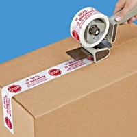 "Stop Tape - 2"" x 110 yds Red On White 2.0 mil Stop Tape, 36 rolls/case"