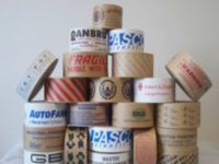 "Custom Printed Paper Tapes - White Non-Reinforced Tapes 3"" x 600 ft., 10 rolls per case, 1 color"