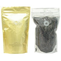 Foil Bags - Stand Up Foil Pouches Clear/Gold + Zip And Valve 1oz.