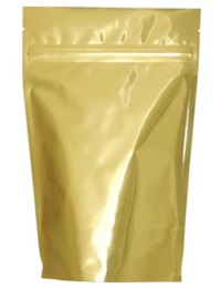 Foil Bags - Stand Up Foil Pouches Gold No Valve 12oz. + Zip & Easy Tear Line