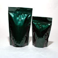 Foil Bags - Stand Up Foil Pouches Green 8oz. + Zip And Valve