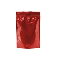 Foil Bags - Stand Up Foil Pouches Clear/Red No Valve 16oz. + Zip