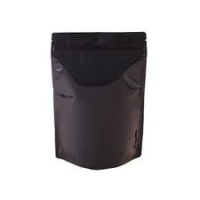 Mylar Bags - Stand Up Metallized Mylar Pouch Black 4oz. + Zip
