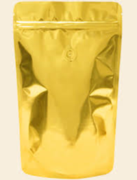 Mylar Bags - Stand Up Metallized Mylar Coffee Pouch Gold 4oz. + Zip