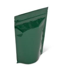 Mylar Bags - Stand Up Metallized Mylar Pouch Green 4oz. + Zip