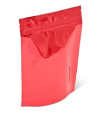 Mylar Bags - Stand Up Metallized Mylar Pouch Red 8oz. + Zip