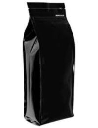 Foil Bags - Quad Seal Gusseted Foil Bags With Zip Black 16oz.